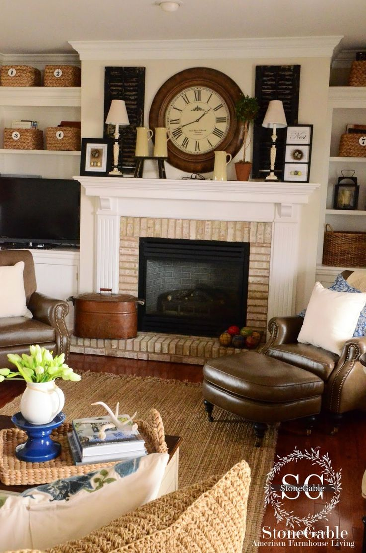 Brick Fireplaces Vintage Clocks Fireplace Surrounds Hardwood Floors Home Interiors Mantels Bricks Pictures Of
