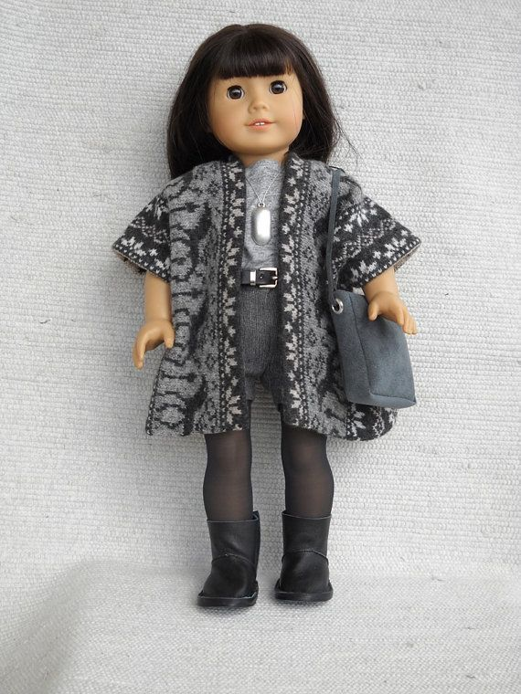 American Girl Doll Clothes  8 piece outfit with poncho, shorts leatherette boots and cloth purse -good combination of knits to make