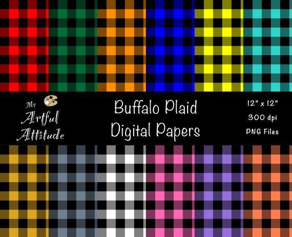 Buffalo Plaid Digital Scrapbook Paper Twill Lumberjack Flannel