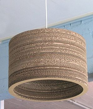 Corrugated cardboard lamp shade made from 85% recycled material.