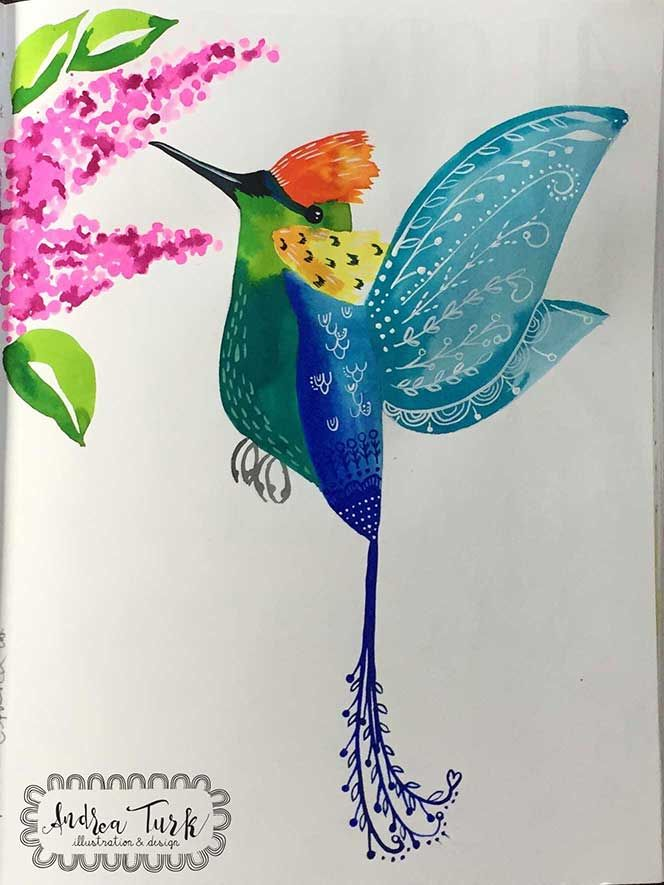 Humming bird number 2 in watercolours Andrea Turk