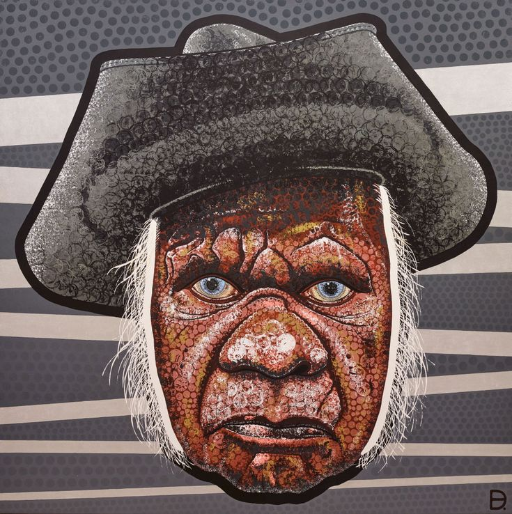 Adam (aka Blak Douglas) Hill: Smoke and mirrors (Uncle Max Eulo) :: Archibald Prize 2015 :: Art Gallery NSW