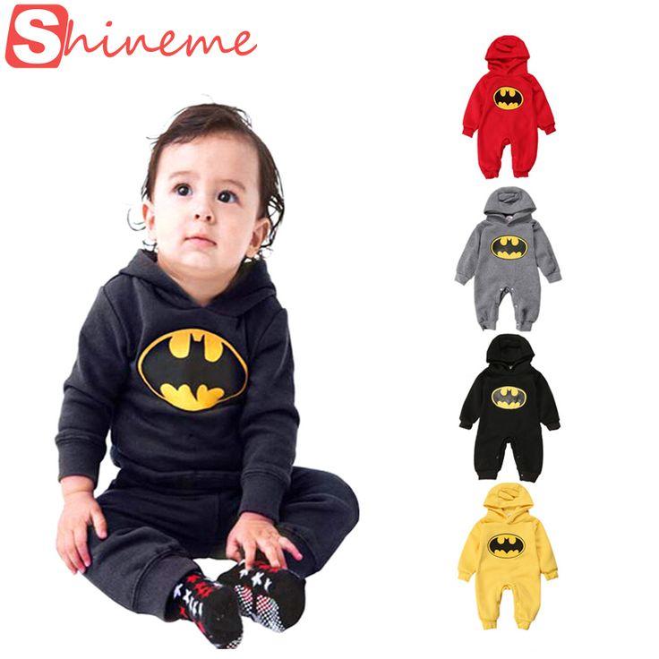 Cotton 4 colors baby infant boy girl rompers jumpsuit set clothing long sleeve winter brand funny superhero batman clothes denim