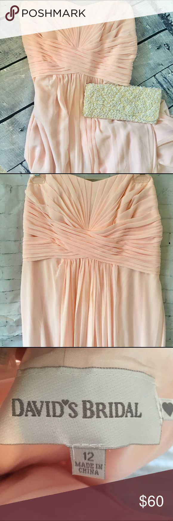 """David's Bridal """"Petal"""" Strapless Bridesmaid Gown David's Bridal Blush Strapless Bridesmaid Gown. Simple style can be glammed up for prom or a black tie affair! David's Bridal Dresses Prom"""