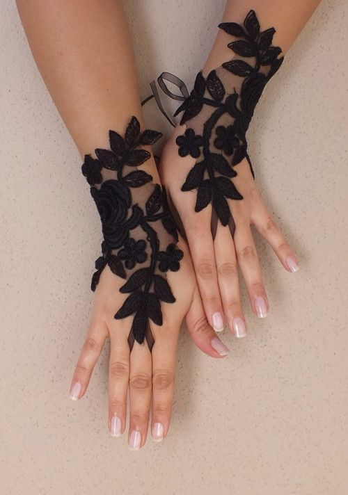 Black gothic lace glove silver frame bridal gloves fingerless gl