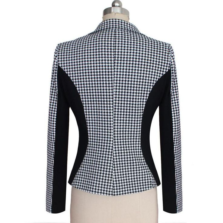 Large Size 2015 New Autumn Style Women One Button Houndstooth Plaid Casual Blazer Women Contrast Color OL Outwear Suit Jackets