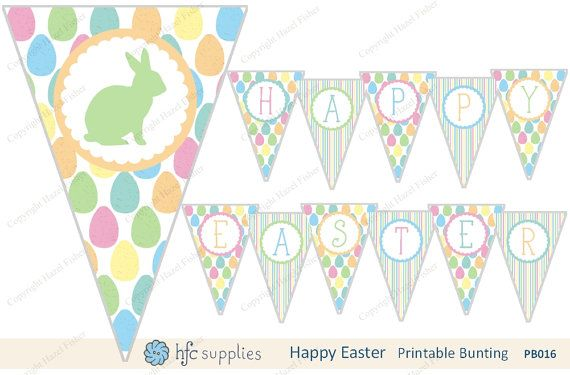 Easter printable Bunting  pastel bunny and eggs 'Happy Easter' banner by hfcSupplies on Etsy. Easter decor, Easter party, Egg hunt