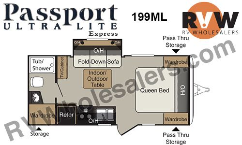 2016 Passport Express 199ML Travel Trailer by Keystone RV Stock# 416164 Inventory - The Original RVWholesalers