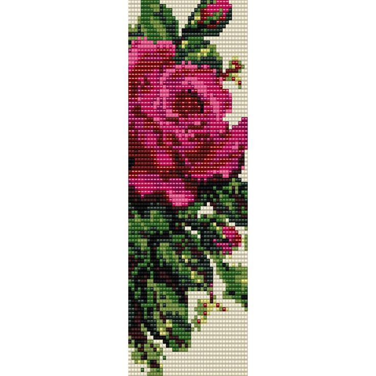 Victorian Rose Loom Bead Pattern, Bracelet Pattern, Bookmark Pattern, Seed Beading Pattern Miyuki Delica Size 11 Beads, PDF Instant Download by SmartArtsSupply on Etsy