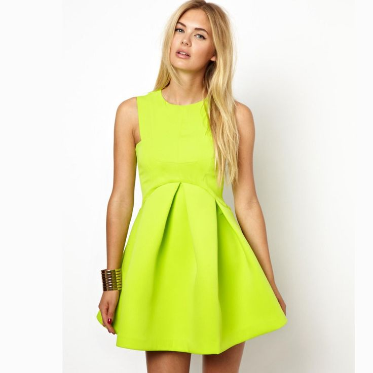 2015-New-Fashion-Women-Summer-Dress-Lemon-font-b-Yellow-b-font-Sleeveless-Pleated-High-Waist.jpg (1000×1000)
