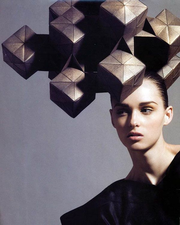 Architectural Fashion - wearable sculpture; geometric cube headpiece; 3D fashion design // House of Architects Milinery