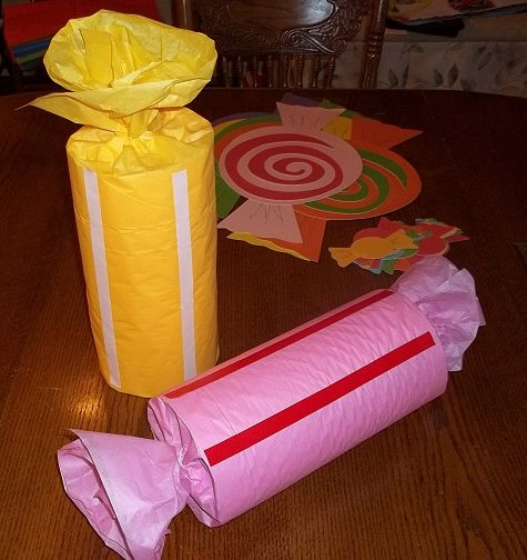 Treat Filled Giant Candy Decorations Candyland Birthday. Can use toilet paper and paper towel rolls.