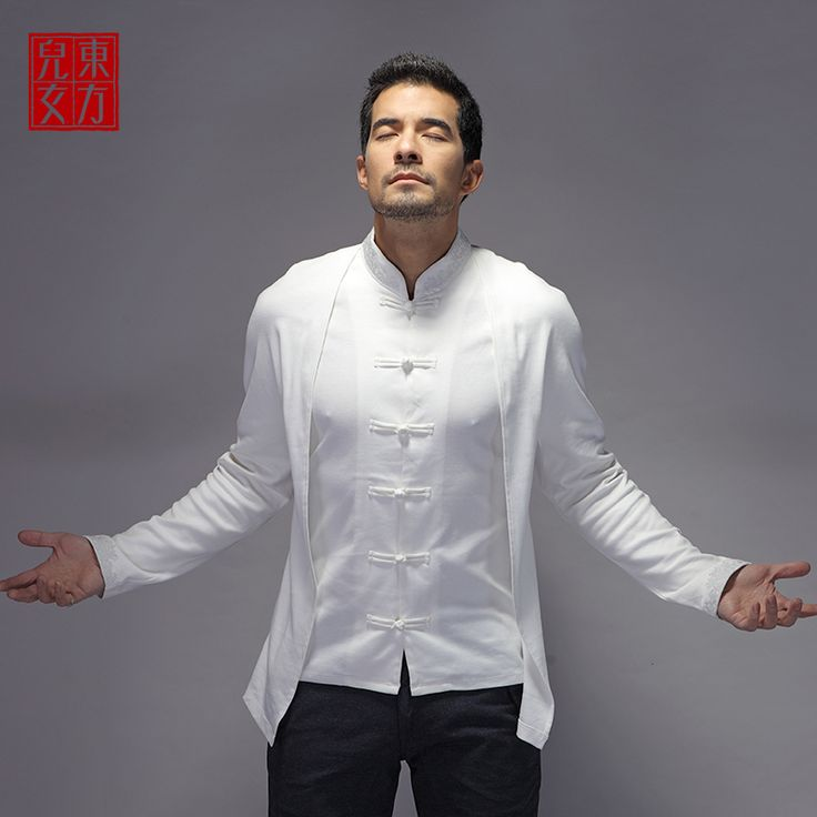 Fantastic Oriental Style Frog Button Blouse - White - Chinese Shirts & Blouses - Men