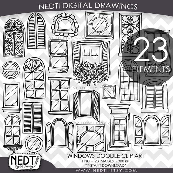 Windows Doodle Clip Art, Window Clipart, Digital Images, PNG, High Resolution…