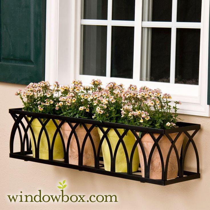 "The ""Arch"" Window Box Cage (Square Design) - Wrought Iron Window Boxes - Window Boxes - Windowbox.com"