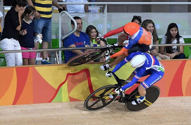 Just A Car Guy: Dutch cyclist Laurine van Riessen managed to avoid a crash by riding up onto a trackside barrier before looping back on to the velodrome