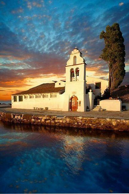 Corfu island-Kannoni, the Vlacherna Monastery at sunset ~ Korfu sziget-Kannoni, a Vlacherna kolostor napnyugtakor.