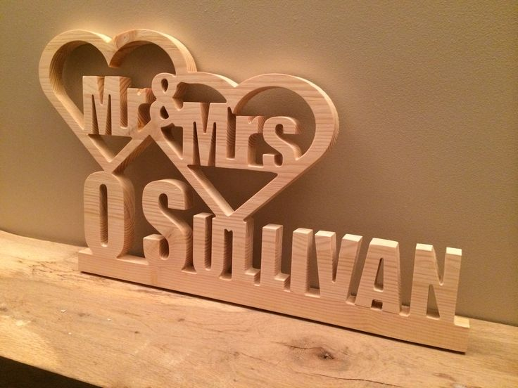 Natural Solid Wood Mr & Mrs for Weddings