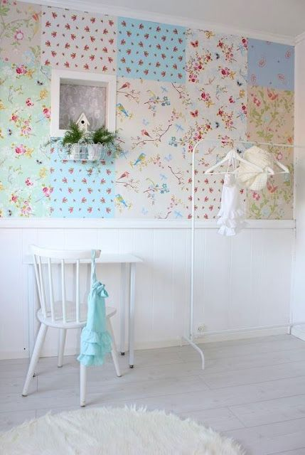 Use scrapbook paper for a patchwork inspired wallpaper-could apply with cute pushpins, or maybe double sided tape for rental living?