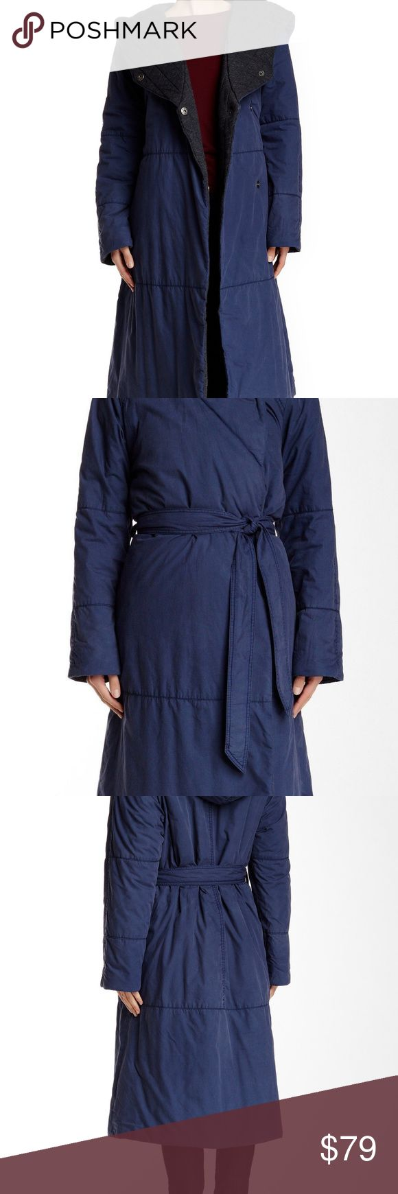NWT Free People Poplin Art to Wear Blanket Coat L Rare Sold Out on Nordstrom Rack  Free People Poplin Art to Wear Blanket Maxi Coat  Color - Dark Blue  Retail - $398  Size - Large  Thick hooded long coat with a self-tie belt wears like a cozy comforter to keep you warm in the coldest temperatures. - Attached hood - Front double snap closure - Self-tie belt - 2 side slash pockets - Lined in soft quilted black fabric  FABRIC = Shell = 100% Cotton Lining = 55% Cotton 35% Polyester 10% Rayon…
