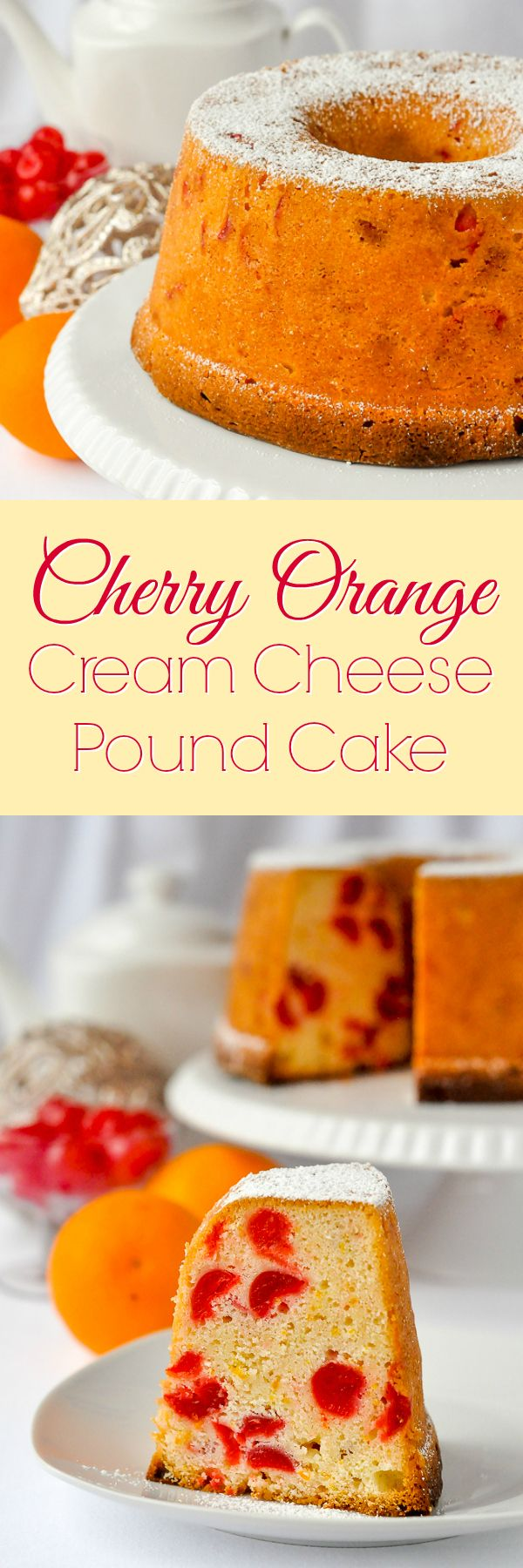 Orange Cherry Cream Cheese Pound Cake - sweet maraschino cherries suspended in a buttery cream cheese batter that's been infused with orange flavour. A great Christmas cake to make in advance for the holiday freezer.