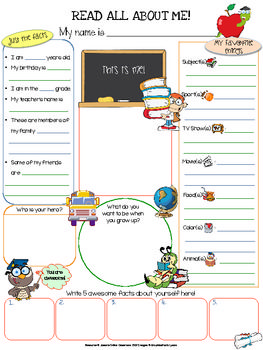 First Day All About Me Printable