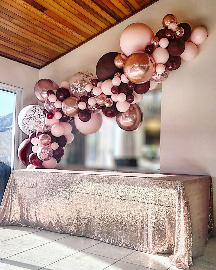 Burgundy, rosé and rose gold ball garland from Stylish Soirees Soirees Perth