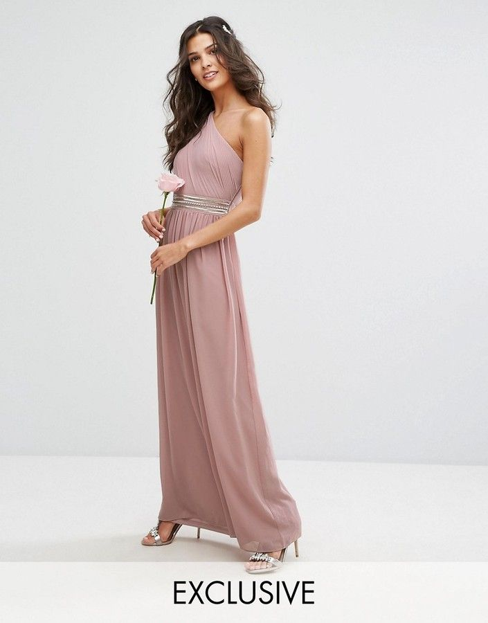 Bridesmaid dress. TFNC WEDDING One Shoulder Embellished Maxi Dress