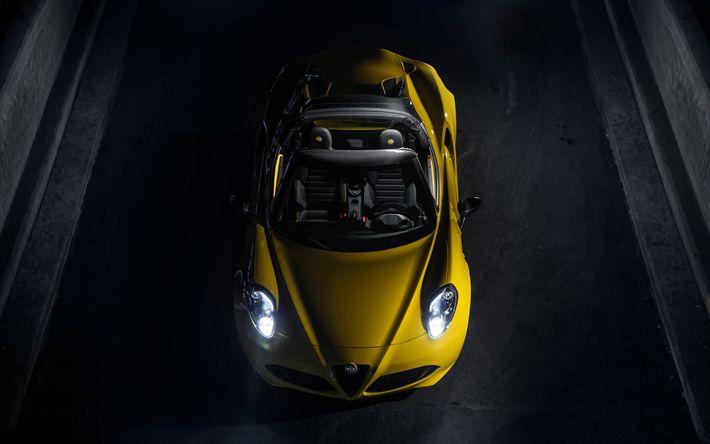 Download wallpapers Alfa Romeo 4C Spider, road, 2018 cars, night, supercars, Alfa Romeo