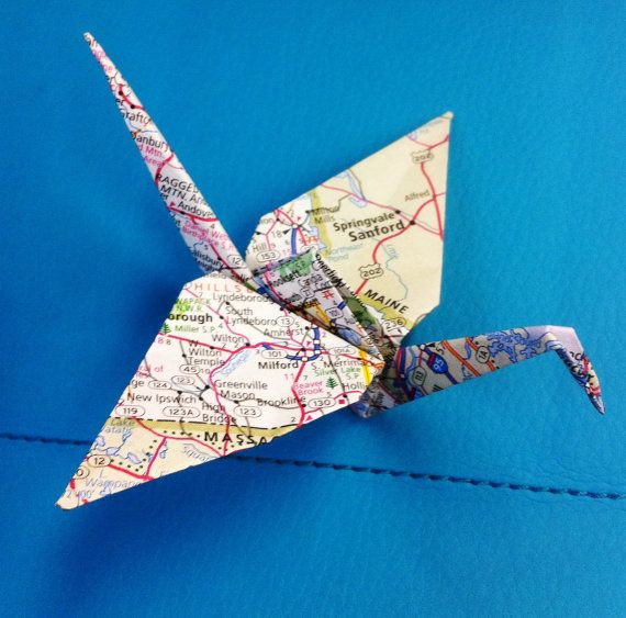 Great idea- it combines my (and hopefully his!) love of travel, and my Japanese heritage. 10 Origami Map Paper Cranes Atlas Cranes Wedding door TINEdesigns, $4.00