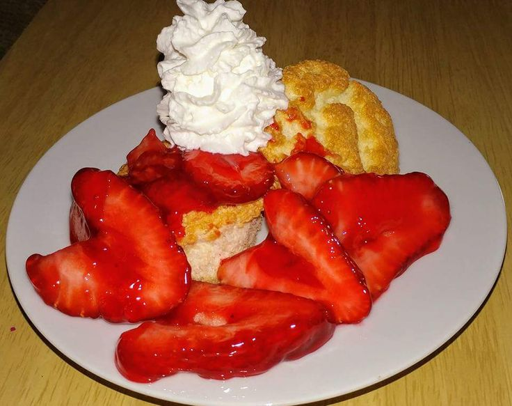 Strawberry Shortcake with Angel Food Cake  1-1/2 cups egg whites about 12 medium eggs   1-1/4 cups powdered sugar   1 cup all-purpose flour   1-1/2 teaspoons cream of tartar   1-1/...