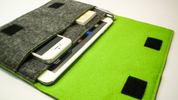 iPad Mini Sleeve / Nexus 7 Sleeve / iPad Cover in Mottled Dark Grey and Olive Green Wool Felt - Made.By.Must.Dash on Etsy, $33.19