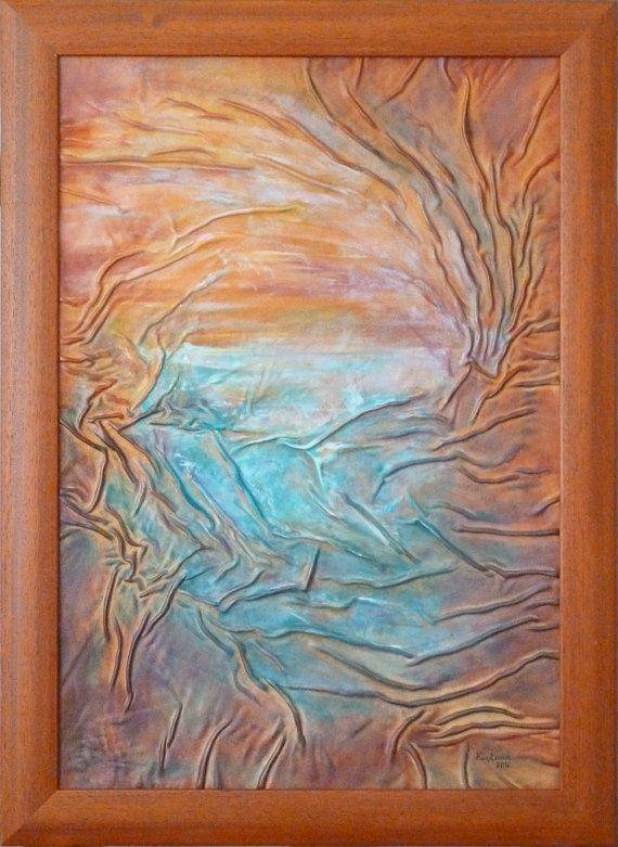 Lake Painting Sunset Sunshine Turquoise Leather Original