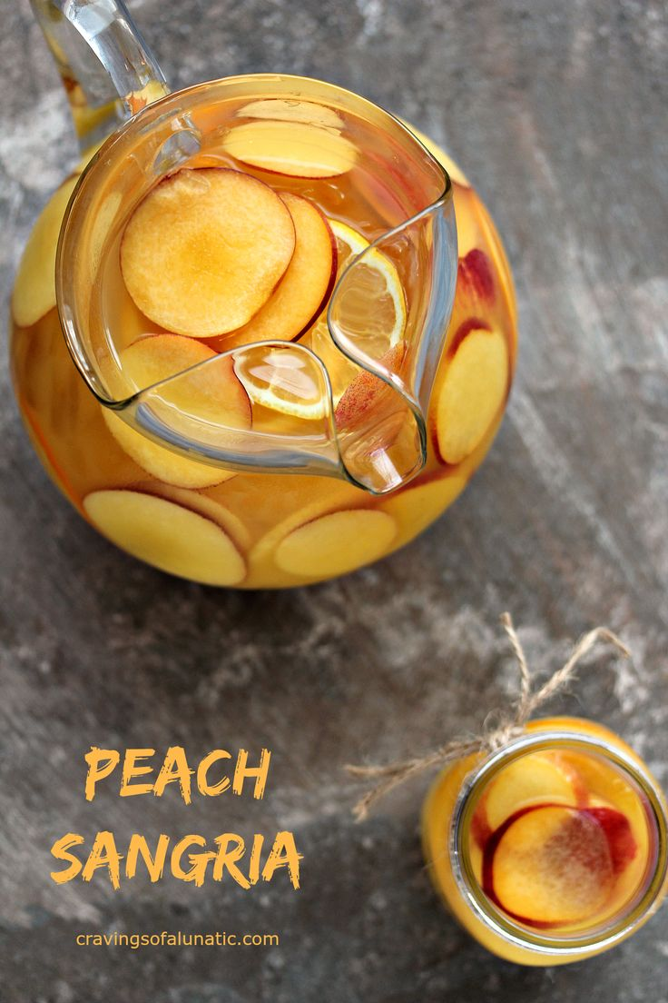 Peach Sangria from cravingsofalunatic.com- This easy recipe for Peach Sangria is sure to be a hit with your family and friends. Celebrate in style with this tasty mix of peach, orange, lemon and Sauvignon Blanc. (@CravingsLunatic)