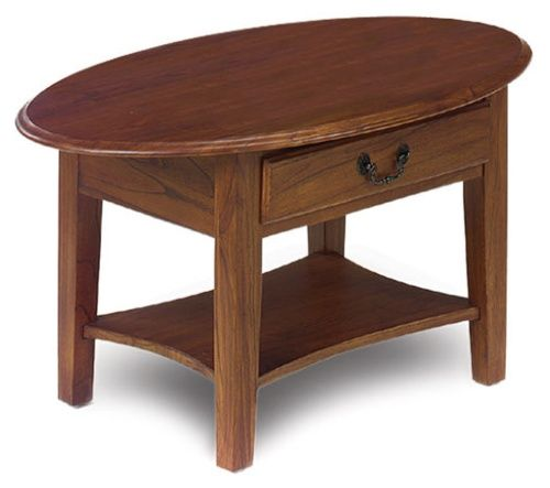Oval Coffee Table with Drawer in Medium Oak - Coffee Tables at Hayneedle