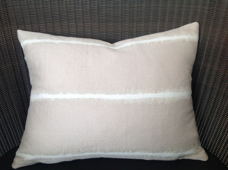 Beige Cream Ikat Cushion - Oblong
