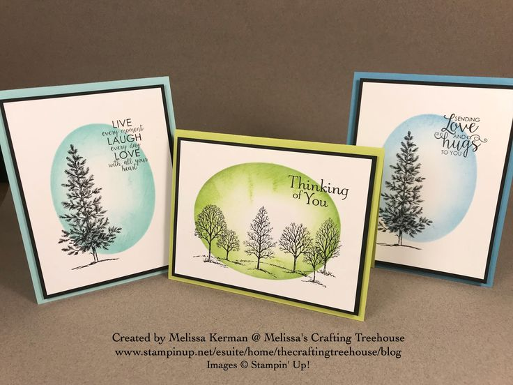 Clean and Simple hand stamped card made with Lovely as a Tree and Ribbbon of Courage Stamp Sets by Stampin' Up!. Made with masking and sponging techniques by Melissa Kerman of Melissa's Crafting Treehouse. Created for Breast Cancer Awareness Cardmaking event 10/21/17.