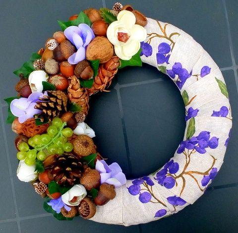 Szőlős, makkos, mogyorós őszi  ajtódísz (26 cm) (pinkrose) - Meska.hu