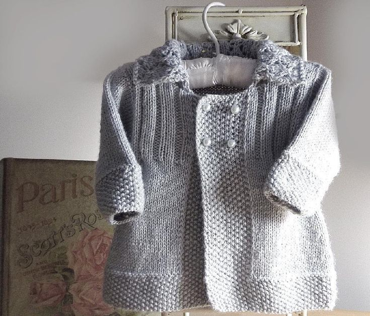 This sweet little jacket is knit in one piece to underarm, which means minimal sewing is required, the added touch of a lace collar completes this stylish jacket.