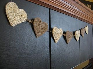 Twine or Yarn Heart Garland!! Fantastic idea to me!