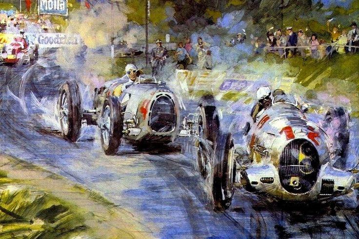 Duelo Auto Union y Mercedes en una carrera antes de WWII
