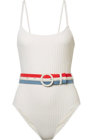 SOLID AND STRIPED The Nina belted ribbed stretch-knit swimsuit. #solidandstriped #cloth #