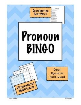 Use this BINGO game to review locating pronouns within a sentence.Included in your purchase:- 24 numbered BINGO cards with a sentence containing a verb- Blank BINGO card with all pronouns written at the bottom for students to create their own- Teacher directions- Black and white copy of all pages- Large BINGO cards and separate word page- Coordinating seat work- Differentiated supports- Numbered list of all sentences with the pronouns in bold- Numbered list of all sentences- Copy of…