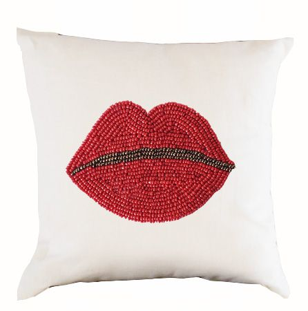 Decorative Pillow Cover Pop Art Design- White Linen Red Beads Throw Pillows- Cushion Cover- Sofa Bed Couch Pillows -16x16 Pillowcase- Gifts  This white linen pillow cover with mouth in beads looks pop