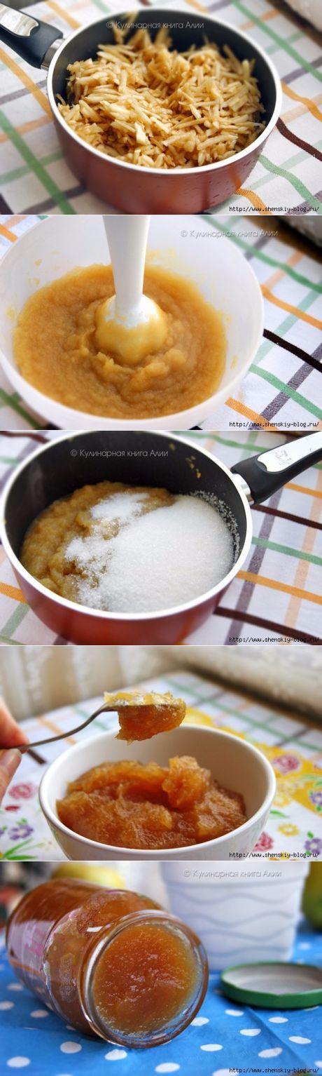 Очень густое яблочное повидло: ложка стоит!.   =яблоки - 1 кг  сахар -1 ст.  =Примечание: у меня яблоки были сладкие, без кислинки, поэтому я взяла 1 стакан сахара. Если яблоки кислые, сахара нужно взять побольше.   Из этого кол-ва продуктов получилась вот такая баночка, как на фото.
