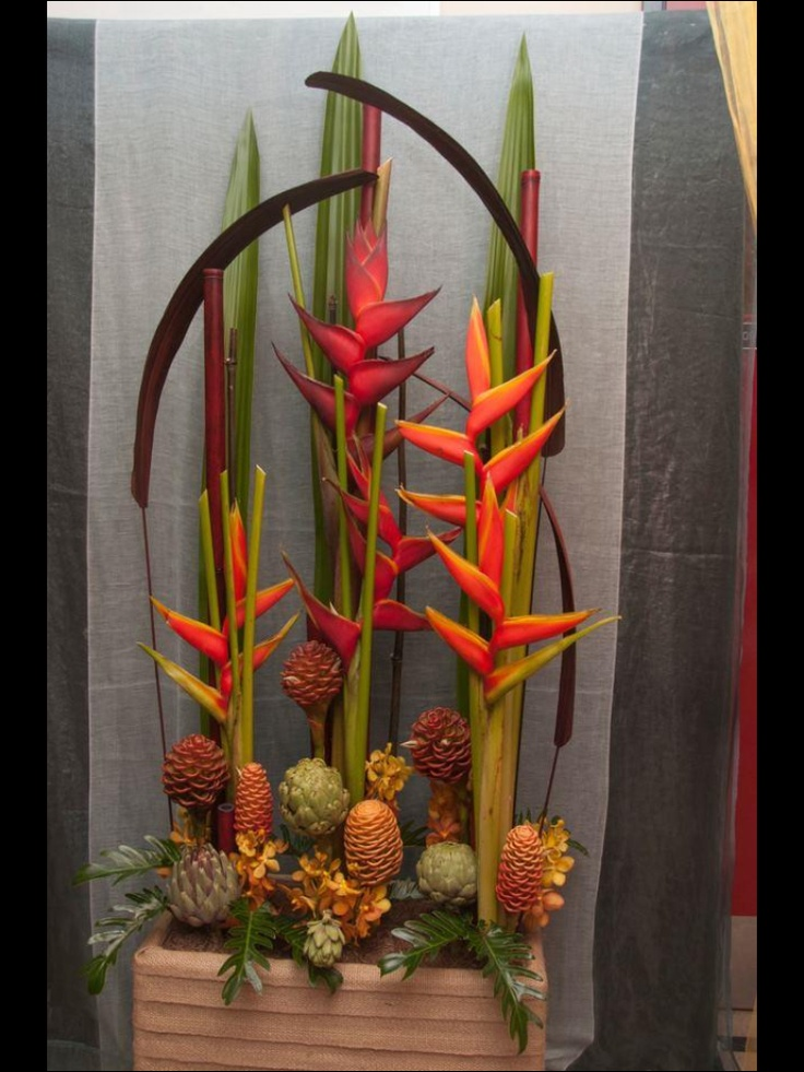Parallel design with tropical flowers- Heliconia, ginger ...