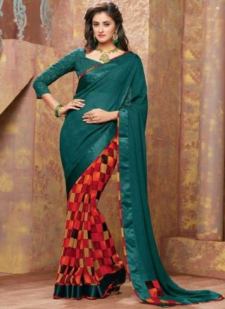 Tantalizing Teal Embroidery Work Printed Designer  Georgette Sarees http://www.angelnx.com/Sarees/Designer-Sarees