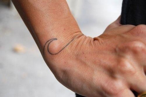 Wrist wave line tattoo. Simple yet elegant imagery