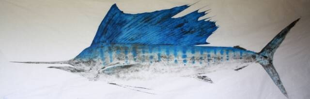 Gyotaku fish prints from hawaii prints of hawaiian fish for Big fish printing