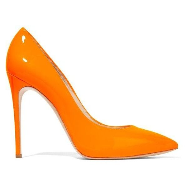 Casadei Neon patent-leather pumps ❤ liked on Polyvore featuring shoes, pumps, orange high heel shoes, pointed-toe pumps, patent leather pointy toe pumps, orange patent leather pumps and orange shoes